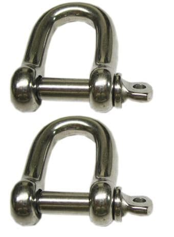 2 x 4mm STAINLESS STEEL MARINE DEE SHACKLES yacht boat deck rigging chain rope